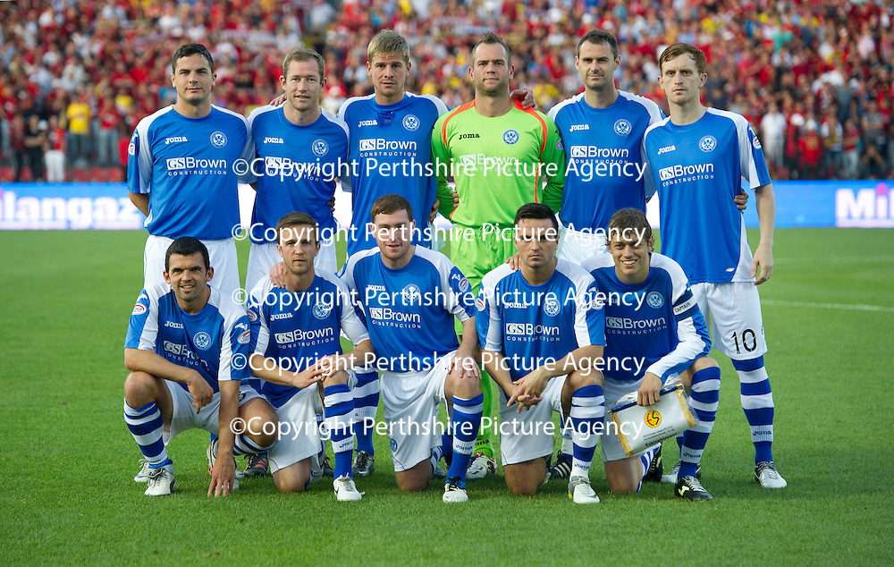 St Johnstone v Eskisehirspor....19.07.12  Uefa Cup Qualifyer<br /> St Johnstone line-up before kick off, back row from left, Gary Miller, Frazer Wright, Jamie Adams; Alan Mannus, David McCracken and Liam Craig<br /> front from left, Callum Davidson, Chris Millar, Paddy Cregg, Sean Higgins and Murray Davidson;<br /> Picture by Graeme Hart.<br /> Copyright Perthshire Picture Agency<br /> Tel: 01738 623350  Mobile: 07990 594431