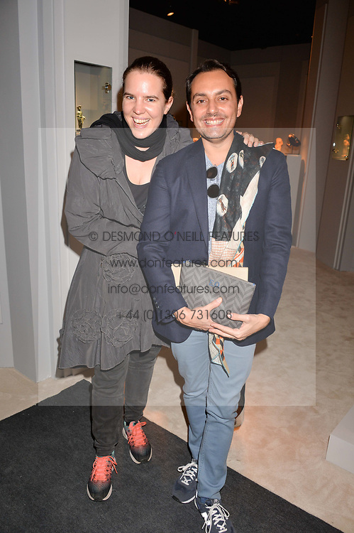 Victoria Aitken and Emre Osmanlar at the 2017 PAD Collector's Preview, Berkeley Square, London, England. 02 October 2017.