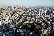 Elevated view of Tokyo with Tokyo Tower seen from the Roppongi hills Mori tower