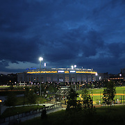 Yankee Stadium at night time during the New York Yankees V New York Mets Subway Series Baseball game at Yankee Stadium, The Bronx, New York. 8th June 2012. Photo Tim Clayton