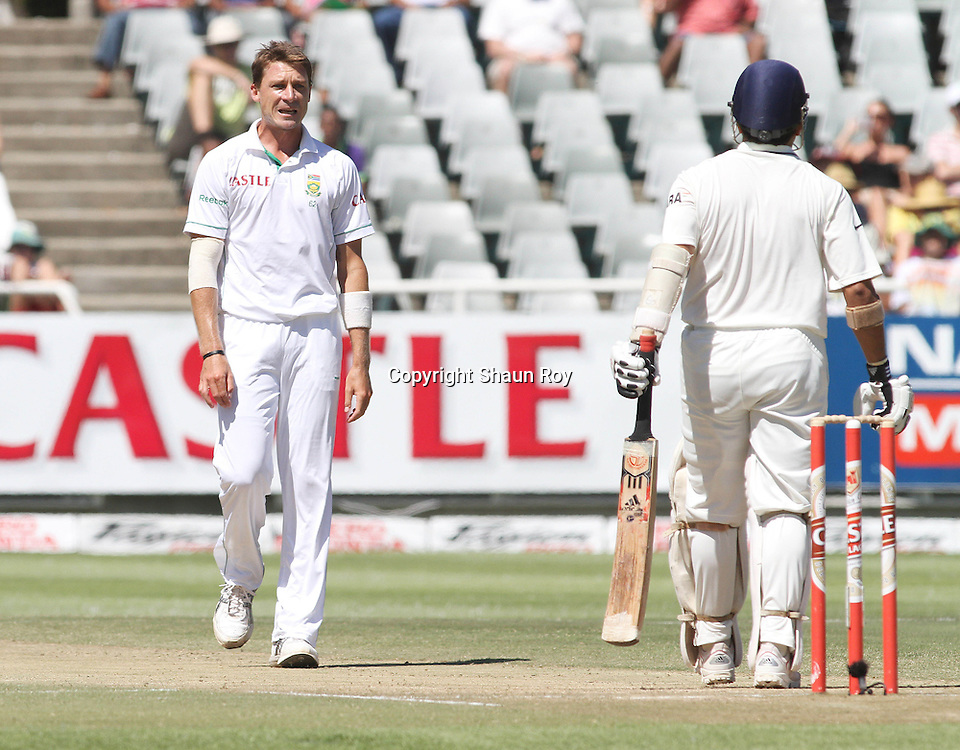 CAPE TOWN, SOUTH AFRICA - 4 January 2011, Dale Steyn of South Africa sledges Sachin Tendulkar of India during day 3 of the 3rd Castle Test between South Africa and India held at Sahara Park Newlands Stadium in Cape Town, South Africa on the 4 January 2011 .Photo by: Shaun Roy