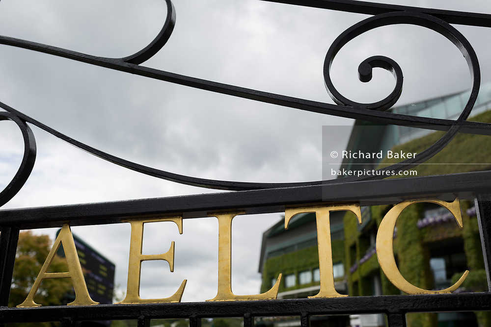 The main gates of the AELTC (All England Lawn Tennis Club) during the Wimbledon tennis championships, on 3rd July 2017, in Wimbledon, London, England.