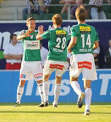 16.06.2011, Keine Sorgen Arena, Ried im Innkreis, AUT, 1.FBL, SV Josko Ried vs Sturm Graz, im Bild (v.l.n.r.) Torjubel Florian Mader, (SV Josko Ried, #10), Thomas Reifeltshammer, (SV Josko Ried, #28) und Jan Marc Riegler, (SV Josko Ried, #14), EXPA Pictures © 2011, PhotoCredit: EXPA/ R. Hackl