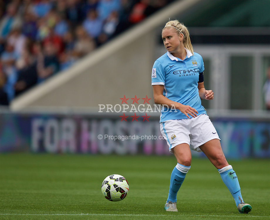 MANCHESTER, ENGLAND - Sunday, August 30, 2015: Manchester City's Steph Houghton during the League Cup Group 2 match against Liverpool at the Academy Stadium. (Pic by Paul Currie/Propaganda)