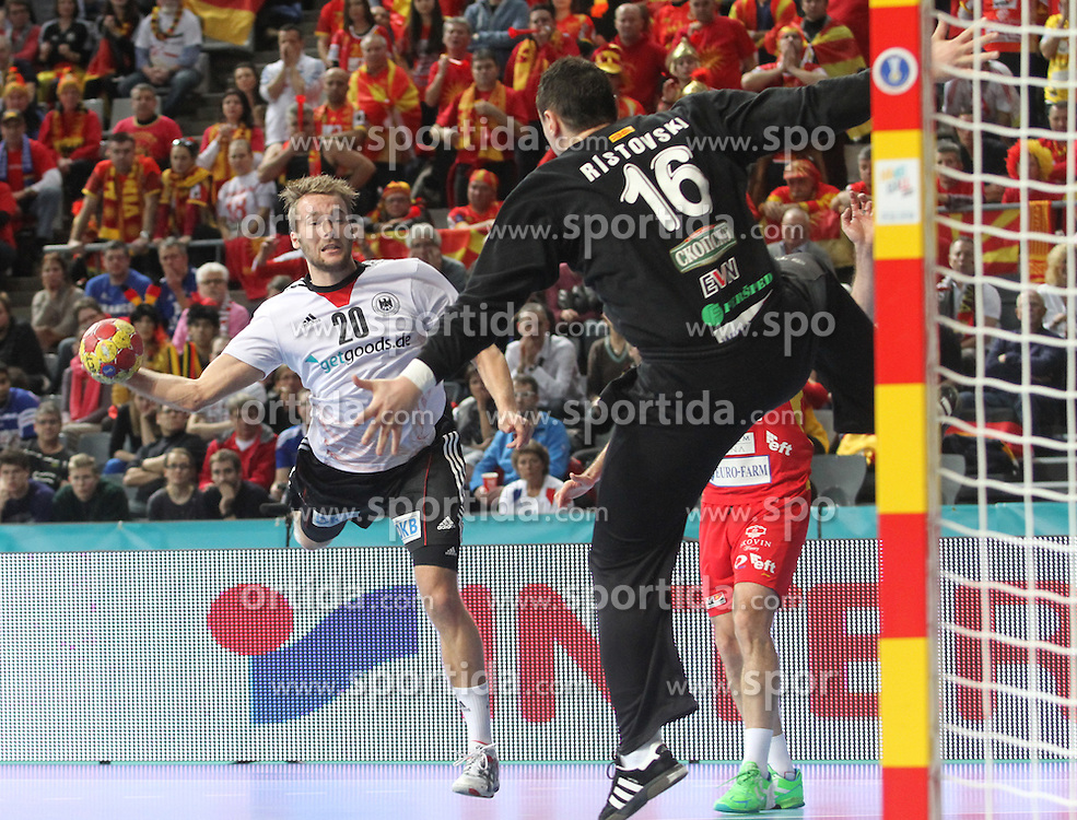 20.01.2013 Barcelona, Spain. IHF men's world championship, eighth.final. Picture show Kevin Schnidt in action during game between Germany  vs FYRO Macedonia at Palau st Jordi / Sportida Photo Agency