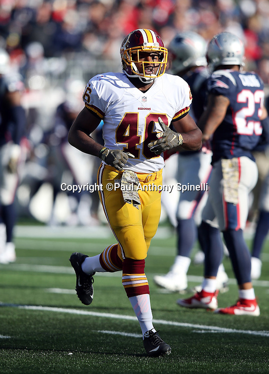 Washington Redskins running back Alfred Morris (46) runs cross field during the 2015 week 9 regular season NFL football game against the New England Patriots on Sunday, Nov. 8, 2015 in Foxborough, Mass. The Patriots won the game 27-10. (©Paul Anthony Spinelli)