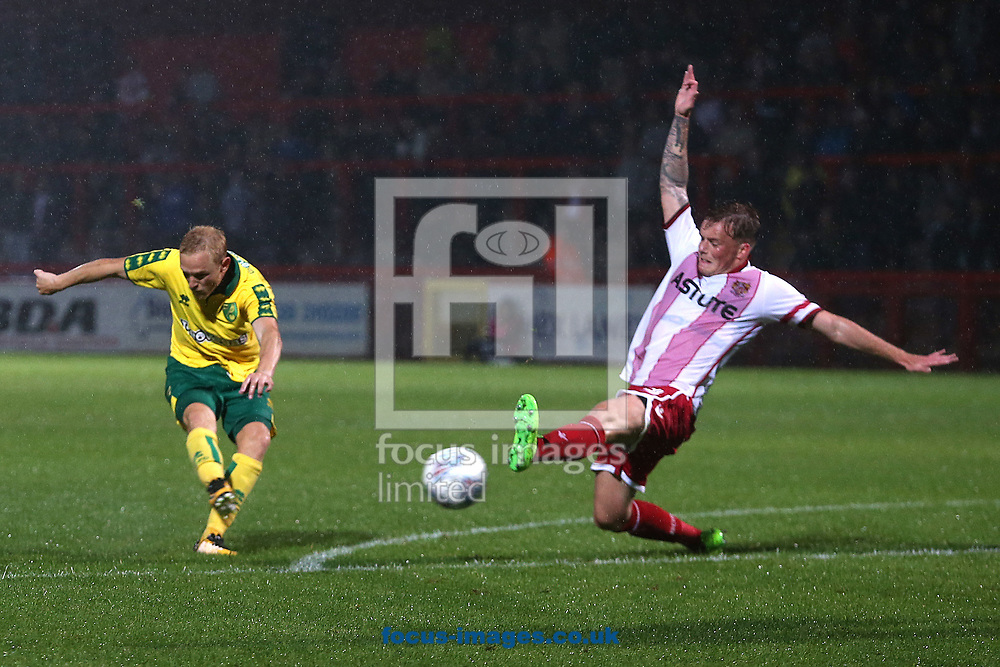Alex Pritchard of Norwich has a shot on goal during the Pre-season Friendly match at the Lamex Stadium, Stevenage<br /> Picture by Paul Chesterton/Focus Images Ltd +44 7904 640267<br /> 11/07/2017