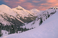 Colorful winter sunset over Marriott Basin, Coast Mountains British Columbia Canada