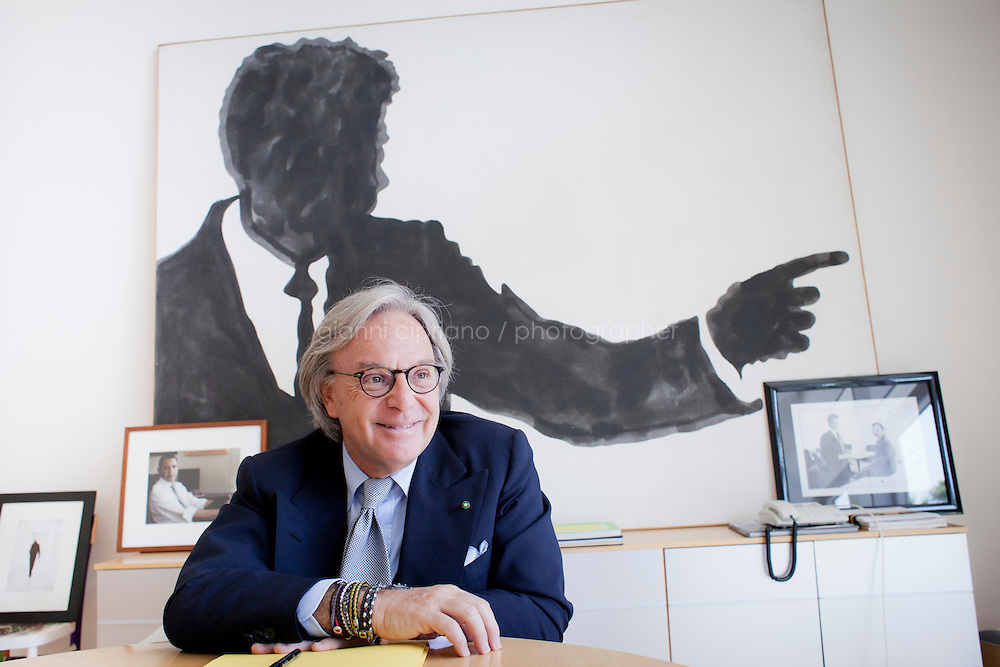 SANT'ELPIDIO A MARE, ITALY - MAY 20: Diego Della Valle, 57, President and CEO of Tod's, is interviewed by journalist Philippe Ridet in his office in front of a Kennedy silhouette painting and a Barack Obama portrait at the Tod's headquarters in Sant'Elpidio a Mare (FM, Marche), Italy, on May 20, 2011. The Tod's headquarters was designed by Della Valle's wife Barbara Pistilli and was inaugurated in 1998. Tod's Group is an Italian company which produces shoes and other leather goods, and is presided over by businessman Diego Della Valle. It is most famous for its driving shoes.<br /> <br /> Gianni Cipriano for Le Monde