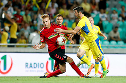 August 3, 2017 - Ljubljana, Slovenia, Slovenia - Florian Niederlechner of SC Freiburg and Amadej Vetrih of NK Domzale battle for the ball during the UEFA Europa League Third Qualifying Round match between SC Freibur and NK Domzale at Arena Stozice on 3 rd August , 2017 in Ljubljana, Slovenia. (Credit Image: © Damjan Zibert/NurPhoto via ZUMA Press)