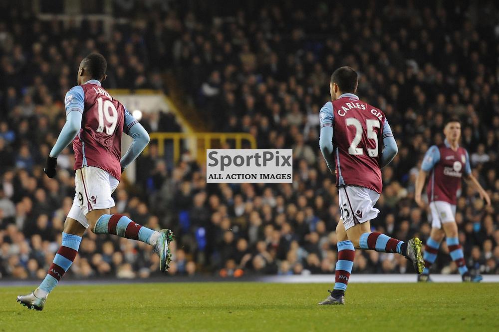 Aston Villas Jordan Ayew celebrates his goal during the Tottenham v Aston Villa match in the Barclays Premier League on the 2nd November 2015