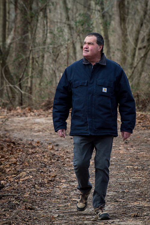 ELKTON, MARYLAND - DECEMBER 26: Zane Cambell in the woods near his home in Elkton, Maryland on Tuesday, December 26, 2017 in Elkton, Maryland. Zane Campbell was born into one of the most revered clans of old-time country music. His aunt was the legendary singer-songwriter Ola Belle Reed, and his uncle was Alex Campbell, a bluegrass singer who hosted shows at the country music parks along the Pennsylvania/Maryland border. (Photo by Pete Marovich For The Washington Post)