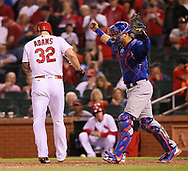 May 12, 2017 - St Louis, MO, USA - Chicago Cubs catcher Willson Contreras reacts after St. Louis Cardinals' Matt Adams struck out to end the game on Friday, May 12, 2017, at Busch Stadium in St. Louis, Mo. (Credit Image: © Chris Lee/TNS via ZUMA Wire)