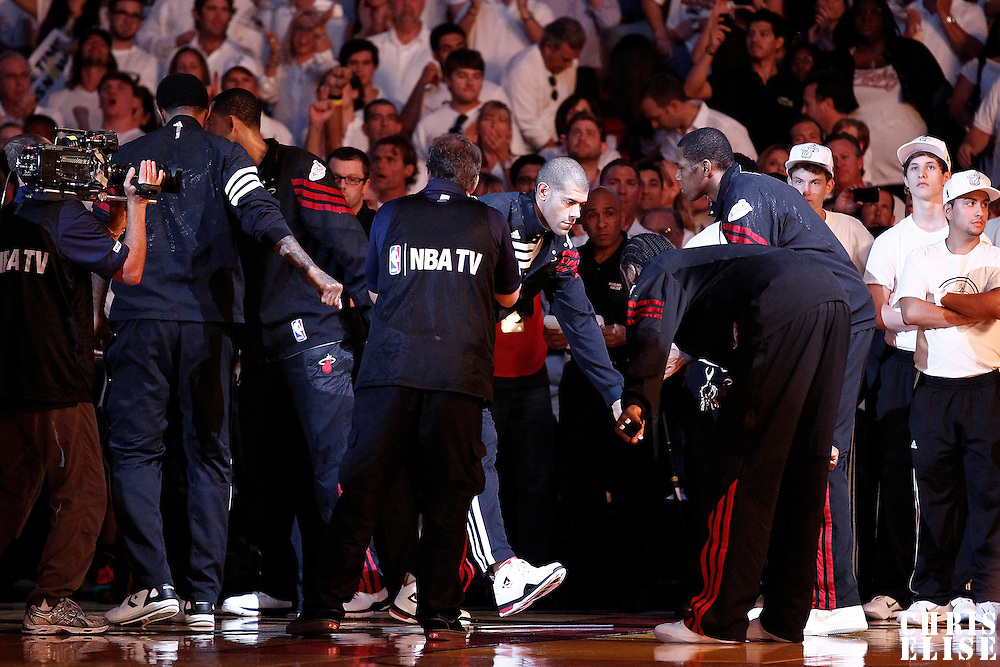 19 June 2012:  Miami Heat small forward Shane Battier (31) is seen during the players introduction prior to the Miami Heat 104-98 victory over the Oklahoma City Thunder, in Game 4 of the 2012 NBA Finals, at the AmericanAirlinesArena, Miami, Florida, USA.