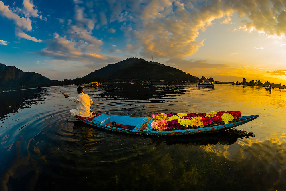 This image showing merchant selling flowers rows his boat on Dal Lake in Srinagar, Kashmir, Jammu and Kashmir State, India won the 2015 Silver Cultural award in the Society of American Travel Writers' Bill Muster photo competition.