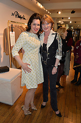 Left to right, EMMA FRANCE European Diretor of mothers2mothers and SAMANTHA BOND at an exclusive out of hours shopping evening 'Gifts for Goddesses' hosted by Mollie King in aid of mothers2mothers held at Liberty, Regent Street, London on 2nd March 2016.