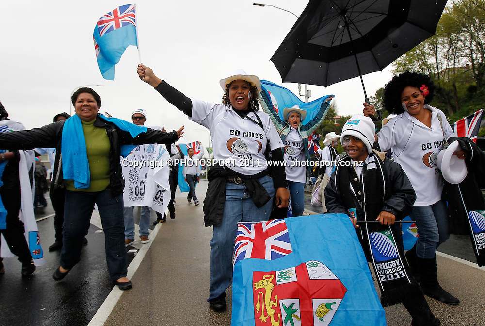 Fiji fans during the Fiji v Samoa Pool D match of the 2011 IRB Rugby World Cup. Eden Park, Auckland, New Zealand. Sunday 25 September 2011. Photo: Simon Watts / photosport.co.nz