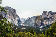 Starting from left, Yosemite's El Capitan, Half Dome and Bridalveil Fall as seen from Tunnel View on May 16, 2017. <br /> <br /> photo by Samuel navarro