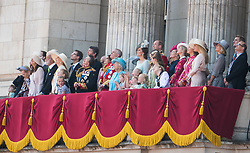 © Licensed to London News Pictures. 09/06/2018. London, UK. Members of the Royal family on the balcony of Buckingham Palace at the end of Trooping The Colour ceremony in London to mark the 92nd birthday of Queen Elizabeth II, Britain's longest reigning monarch. Photo credit: Ben Cawthra/LNP