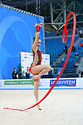 Son Yeon Jae during qualifying  at ribbon in Pesaro World Cup 02 April 2016. Yeon Jae is an Korean individual rhythmic gymnast, she was born  28 May, 1994 Seoul, Republic of Korea. After the 2016 Olympic Games Son decided to stop the competitive activity.