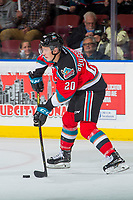 KELOWNA, CANADA - NOVEMBER 10: Conner Bruggen-Cate #20 of the Kelowna Rockets shoots the puck against the Vancouver Giants on November 10, 2017 at Prospera Place in Kelowna, British Columbia, Canada.  (Photo by Marissa Baecker/Shoot the Breeze)  *** Local Caption ***