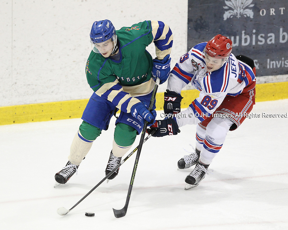 OAKVILLE, ON  - JAN 6,  2017: Ontario Junior Hockey League game between the Oakville Blades and the Burlington Cougars, Jaxon Camp #23 of the Oakville Blades battles for the puck with Jack Jeffers #89 of the Oakville Blades during the first period.<br /> (Photo by Tim Bates / OJHL Images)