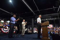 November 2, 2018 - Miami, Florida, United States Of America - MIAMI BEACH, FL - NOVEMBER 02: Democratic Florida Gubernatorial Candidate Andrew Gillum Campaigns with United States Senator Bill Nelson and Former US President Barack Obama at the Overtown Ice Palace Film Studios on November 2, 2018 in Miami, Florida..People:  Andrew Gillum, Barack Obama, Bill Nelson (Credit Image: © SMG via ZUMA Wire)