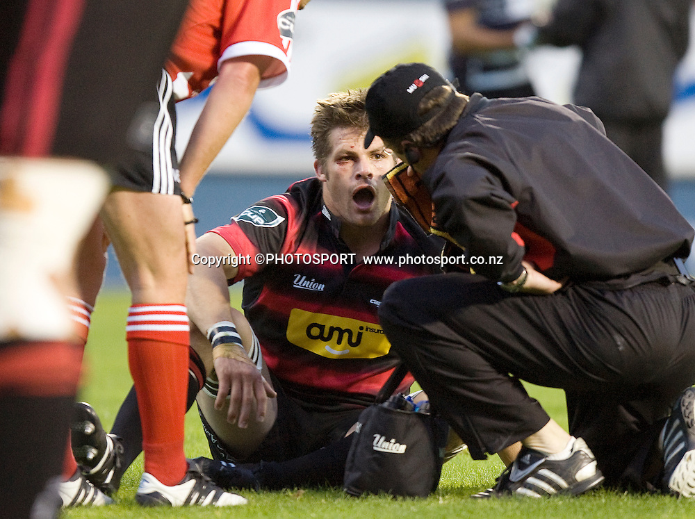 Richie McCaw is attended to on the field. Air NZ Cup, Semi-final. Canterbury v Hawkes Bay at AMI Stadium, Christchurch, New Zealand. 18 October 2008 Photo: Joseph Johnson/PHOTOSPORT