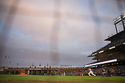 San Francisco Giants catcher Nick Hundley (5) bats against the Milwaukee Brewers at AT&T Park in San Francisco, California, on August 21, 2017. (Stan Olszewski/Special to S.F. Examiner)
