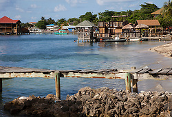 Partial view, waterfront of West End, the largest settlement on Roatan.