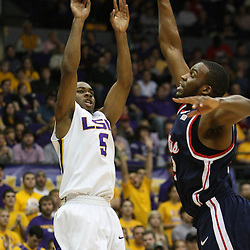 14 February 2009 LSU guard Marcus Thornton (5) shoots over during a NCAA basketball game between SEC rivals the Ole Miss Rebels and the LSU Tigers at the Pete Maravich Assembly Center in Baton Rouge, LA.