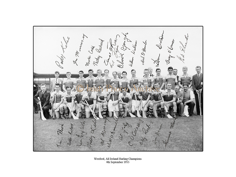 Wexford, All Ireland Hurling Champions, 4th September 1955