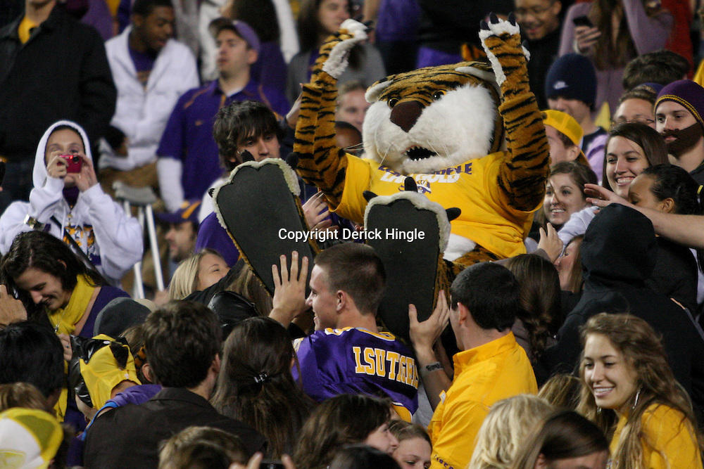 November 12, 2011; Baton Rouge, LA, USA;  The LSU Tigers mascot crowd surfs during the second half of a game against the Western Kentucky Hilltoppers at Tiger Stadium. LSU defeated Western Kentucky 42-9. Mandatory Credit: Derick E. Hingle-US PRESSWIRE