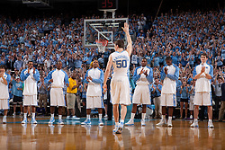 08 March 2009: North Carolina Tar Heels forward Tyler Hansbrough (50) waves to the crowd before his final game at the Smith Center during a 79-71 win over the Duke Blue Devils at the Dean Smith Center in Chapel Hill, NC.