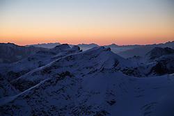 TEMENBILD - Mölltaler Gletscher ist der Name für ein Skigebiet in Österreich, Kärnten, in der Nähe von Flattach. Das Skigebiet ist im Besitz der Schultz Gruppe. Das Skigebiet dient in den Sommer und Herbstmonaten als T Trainingstätte für den Internationalen Ski Zirkus. Aufgenommen am 23.10.2012. Hier im Bild Sonnenaufgang auf den umliegenden Bergspitzen // THEME IMAGE FEATURE - Moelltal Glacier is the name of a ski resort in Austria, Carinthia, near Flattach. The resort is owned by the Schultz group. The ski area is in the summer and autumn months as T training venue for the International Ski Circus. The image was taken on october, 23th, 2012. Picture shows Sunrise at the top. EXPA Pictures © 2012, PhotoCredit: EXPA/ J. Groder