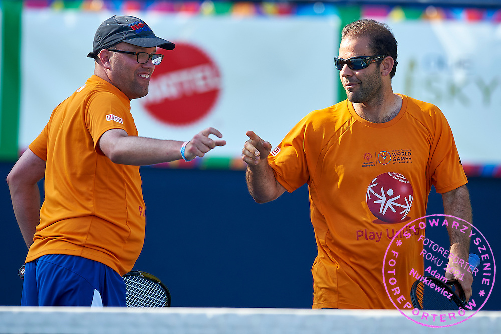 Petros &quot;Pete&quot; Sampras a retired American tennis player (14 Grand Slam singles titles) in action while Unified Tennis Experience during sixth day of the Special Olympics World Games Los Angeles 2015 on July 30, 2015 at Tennis Centre on UCLA (University of California Los Angeles) in Los Angeles, USA.<br /> <br /> USA, Los Angeles, July 30, 2015<br /> <br /> Picture also available in RAW (NEF) or TIFF format on special request.<br /> <br /> For editorial use only. Any commercial or promotional use requires permission.<br /> <br /> Adam Nurkiewicz declares that he has no rights to the image of people at the photographs of his authorship.<br /> <br /> Mandatory credit:<br /> Photo by &copy; Adam Nurkiewicz / Mediasport