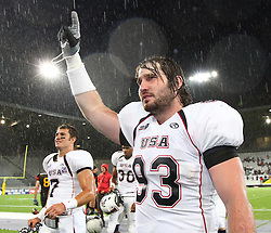 10.07.2011, Tivoli Stadion, Innsbruck, AUT, American Football WM 2011, Group A, Germany (GER) vs United States of America (USA), im Bild Wacey  Coleman (USA, #93, DL) after the win against germany // during the American Football World Championship 2011 Group A game, Germany vs USA, at Tivoli Stadion, Innsbruck, 2011-07-10, EXPA Pictures © 2011, PhotoCredit: EXPA/ T. Haumer