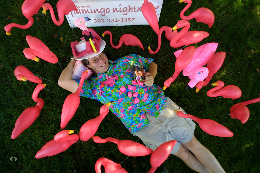 Alan Rogers with just a few of his flamingos, he with Flamingo Nightmare of Portland.
