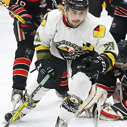 """TRENTON, ON  - MAY 5,  2017: Canadian Junior Hockey League, Central Canadian Jr. """"A"""" Championship. The Dudley Hewitt Cup Game 7 between Georgetown Raiders and the Powassan Voodoos.    Tyson Gilmour #23 of the Powassan Voodoos skates during the first period<br /> (Photo by Alex D'Addese / OJHL Images)"""