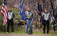 Hurley, New York  - Members of Town of Hurley VFW Post 5086 hold flags along Route 209 to honor U.S. Army Sgt. Shawn M. Farrell II on May 7, 2014. Farrell died April 28 when forces attacked his unit with small arms fire in Afghanistan.