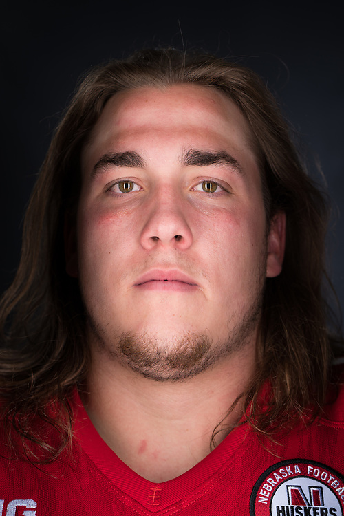 Nick Gates #68 during a portrait session at Memorial Stadium in Lincoln, Neb. on June 6, 2017. Photo by Paul Bellinger, Hail Varsity