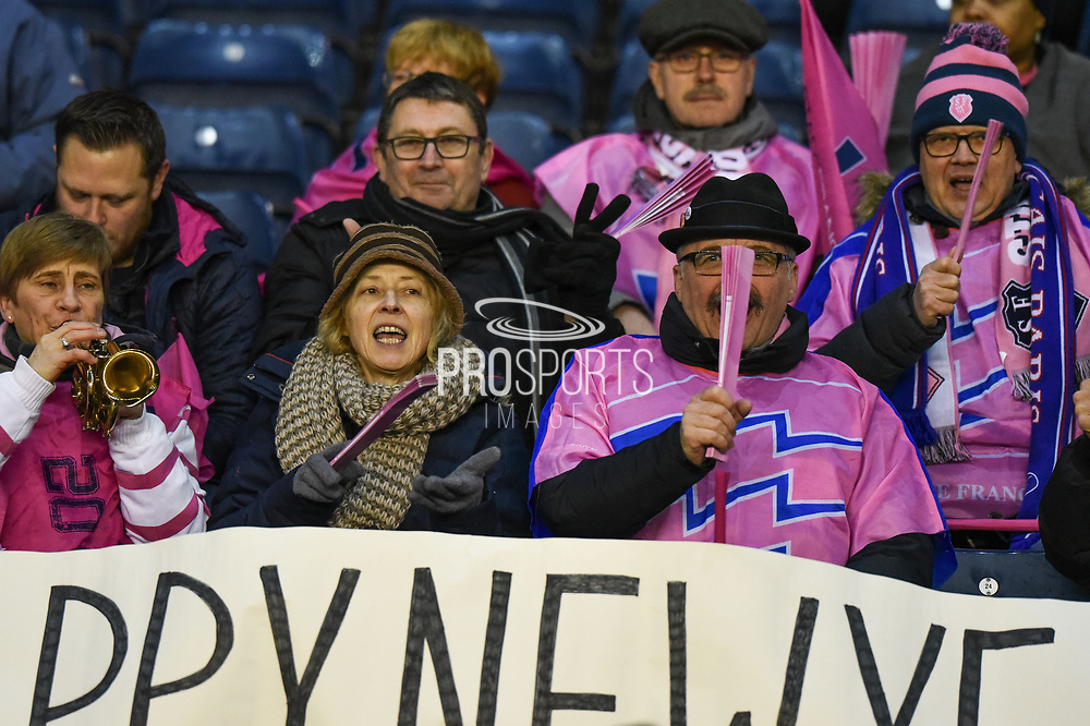 Stade Francais fans during the European Rugby Challenge Cup match between Edinburgh Rugby and Stade Francais at Murrayfield Stadium, Edinburgh, Scotland on 12 January 2018. Photo by Kevin Murray.