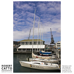 Sailboats in Lambton Harbour, Wellington, New Zealand.<br />