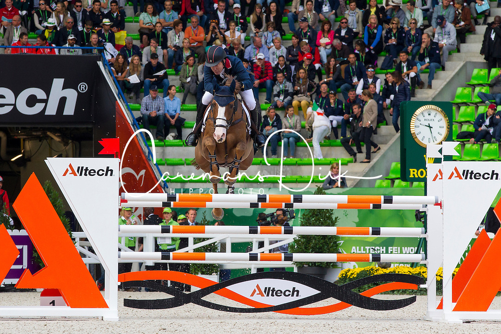 Michael Whitaker, (GBR), Viking - Team &amp; Individual Competition Jumping Speed - Alltech FEI World Equestrian Games&trade; 2014 - Normandy, France.<br /> &copy; Hippo Foto Team - Leanjo De Koster<br /> 02-09-14