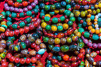 Colorful beaded stone bracelets, Tibet (Xizang), China.