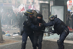 Around 15,000 civil servants demonstrated in Paris at the call of the main trade unions to defend their status and oppose the next reform wanted by the government. Violence broke out between Black Bloc demonstrators and the police, and 17 demonstrators were arrested. Paris, France, May 22, 2018. Photo by Samuel Boivin / ABACAPRESS.COM