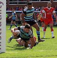Alex Foster of London Broncos scores his teams 2nd try of the game during the First Utility Super League match at the KC Lightstream Stadium, Kingston upon Hull<br /> Picture by Richard Gould/Focus Images Ltd +44 7855 403186<br /> 25/05/2014