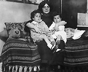 Survivors of the Titanic disaster 1912. Louis and Michel Navratil, of Nice, France, on their mother's lap.