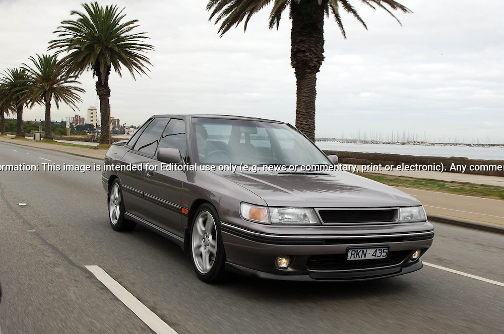 1991 Subaru RS Liberty Turbo - Charcoal.Shot on location at Beaconsfield Parade, St Kilda, Melbourne, Victoria.3rd July 2005.(C) Joel Strickland Photographics.Use information: This image is intended for Editorial use only (e.g. news or commentary, print or electronic). Any commercial or promotional use requires additional clearance.