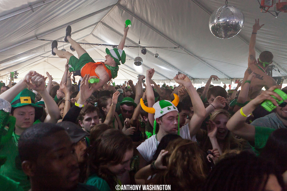 The Midtown Partyplex DJ tent at Shamrock Fest on the grounds of RFK Stadium in Washington, DC on Saturday, March 22, 2014.